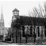 Vintage photo of Catholic Central (Saint Mary's High School) building and Church, before second addition was built.