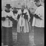 Monsignor Joseph Heim (center) in 1955 at Saint Mary's cornerstone ceremony.
